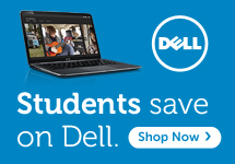 Lap top computer, Dell Logo, Students Save on Dell. Shop Now.